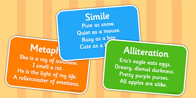 Figurative Language Reference Cards - reference cards, cards