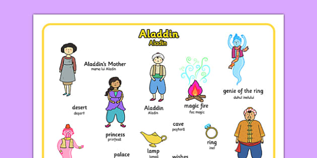 Aladdin Word Mat Romanian Translation - romanian, aladdin, word mat, key words, stories, story