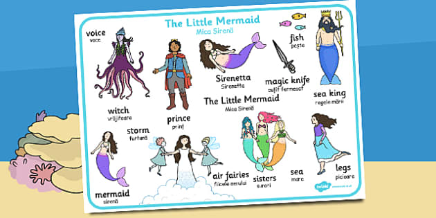 The Little Mermaid Word Mat Romanian Translation - romanian