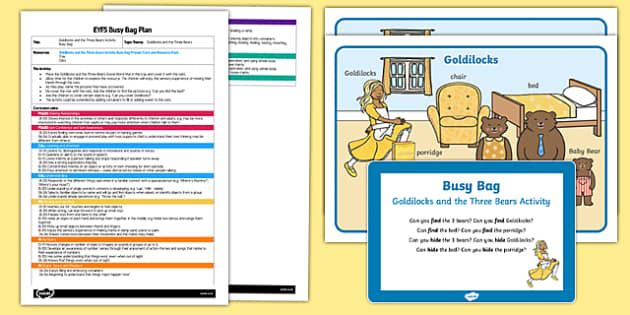 EYFS Goldilocks and the Three Bears Activity Busy Bag Plan and Resource Pack
