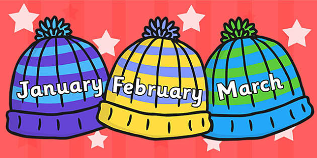 Months of the Year on Woolly Hats - Hats, winter, Weeks poster, Months display, display, poster, frieze, Months of the Year, skis, ice skates, polar bear, whale, penguin, huskey, snow, winter, frost, cold, ice, hat, gloves