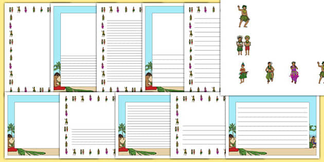 Pacific Islands Themed Page Borders - nz, new zealand, pacific islands, page borders
