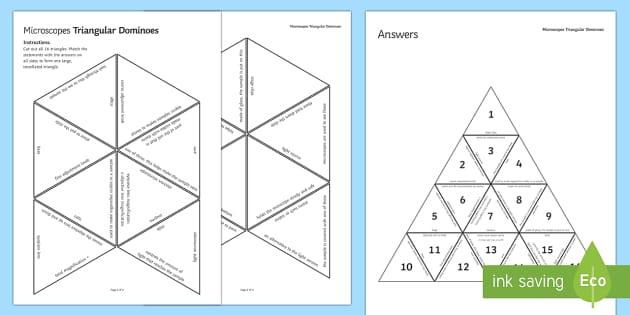Microscopes Triangular Dominoes - Tarsia, Dominoes, Microscopes, Magnification, Samples, Slides, Microorganisms