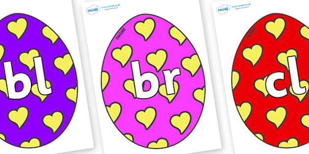 Initial Letter Blends on Easter Eggs (Hearts) - Initial Letters, initial letter, letter blend, letter blends, consonant, consonants, digraph, trigraph, literacy, alphabet, letters, foundation stage literacy