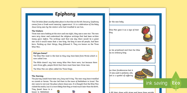 KS2 Epiphany Differentiated Fact File - KS1/2 Epiphany (Jan 6th 2017), Christian, Christianity, feast, January, Three Wise Men, Three Kings,