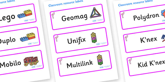Flamingo Themed Editable Construction Area Resource Labels - Themed Construction resource labels, Label template, Resource Label, Name Labels, Editable Labels, Drawer Labels, KS1 Labels, Foundation Labels, Foundation Stage Labels