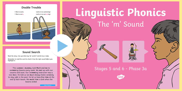 Northern Ireland Linguistic Phonics Stage 5 and 6 Phase 3a, 'm' Sound PowerPoint - Linguistic Phonics, Phase 3a, Northern Ireland, 'm' sound, sound search, word sort, investigatio