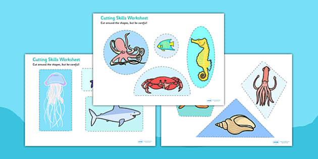 Under The Sea Themed Cutting Skills Worksheets - fine motor skill