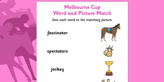 The Melbourne Cup Word and Picture Matching Worksheet - australia, melbourne cup