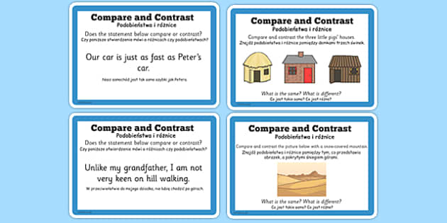 Guided Reading Skills Task Cards Compare and Contrast Polish Translation - english, literacy, group work, infer, understand, listen, speak, challenge, activity,