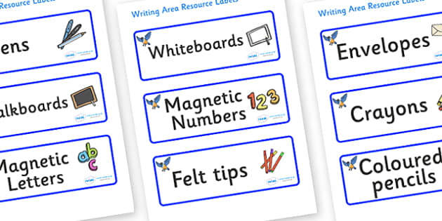Starling Themed Editable Writing Area Resource Labels - Themed writing resource labels, literacy area labels, writing area resources, Label template, Resource Label, Name Labels, Editable Labels, Drawer Labels, KS1 Labels, Foundation Labels, Foundati