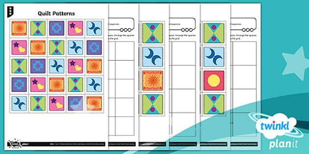 PlanIt Y2 Position and Direction Pattern and Sequence Quilt Patterns Differentiated Home Learning Tasks - Geometry, orientation, position, direction, movement, straight line, rotation, turn, right angle, qu
