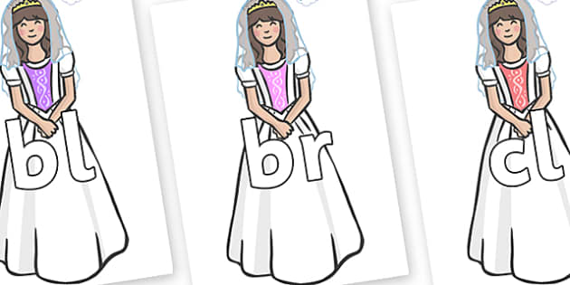 Initial Letter Blends on Princesses - Initial Letters, initial letter, letter blend, letter blends, consonant, consonants, digraph, trigraph, literacy, alphabet, letters, foundation stage literacy