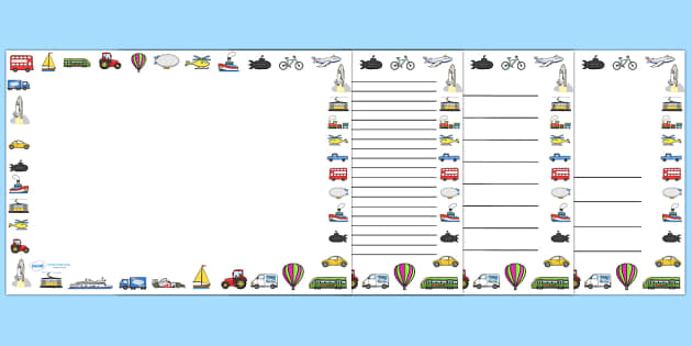 Transport Full Page Borders (Landscape) - page border, border, frame, writing frame, transport writing frames, transport page borders, travel, transport, transportation, modes of transport, writing template, writing aid, writing, A4 page, page edge,