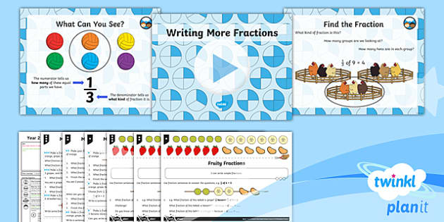 PlanIt Y2 Fractions Lesson Pack - Fractions, 1/2, 1/4, 1/3, 3/4, denominator, numerator, reasoning, practical activity, half, halves,