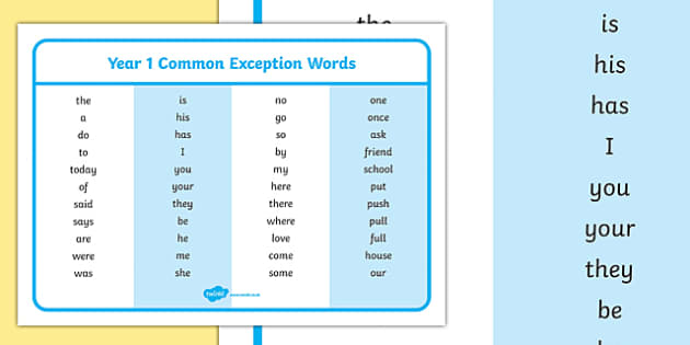 Year 1 Common Exception Words - year 1, common exception, words, common, exception