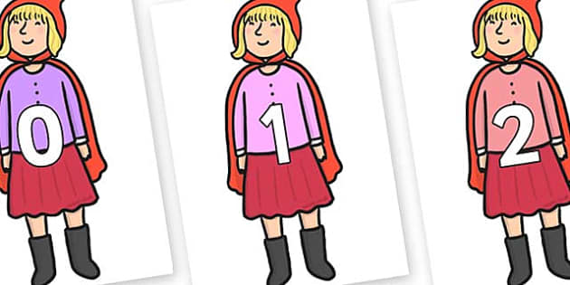 Numbers 0-100 on Red Riding Hood to Support Teaching on The Jolly Christmas Postman - 0-100, foundation stage numeracy, Number recognition, Number flashcards, counting, number frieze, Display numbers, number posters