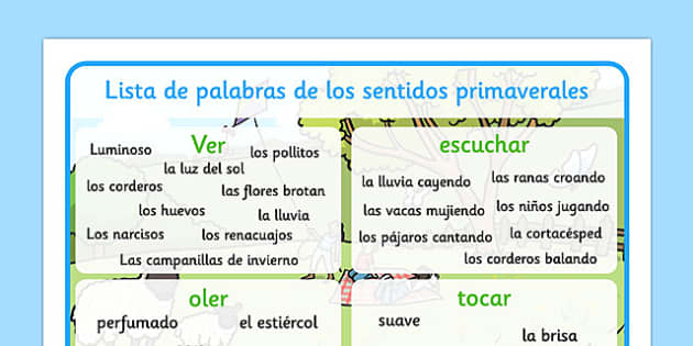 Spring Themed Senses Word Mat Spanish - EAL, translated, springtime, science, nature