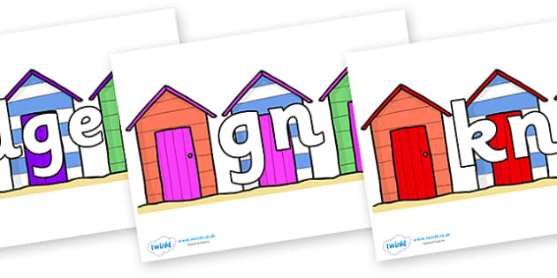 Silent Letters on Beach Huts - Silent Letters, silent letter, letter blend, consonant, consonants, digraph, trigraph, A-Z letters, literacy, alphabet, letters, alternative sounds