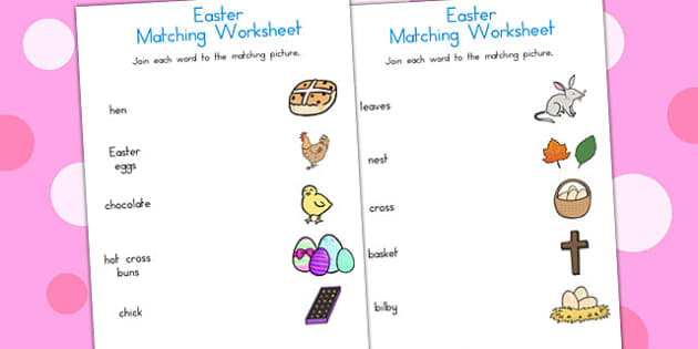 Easter Word and Picture Matching Worksheet - easter, matching