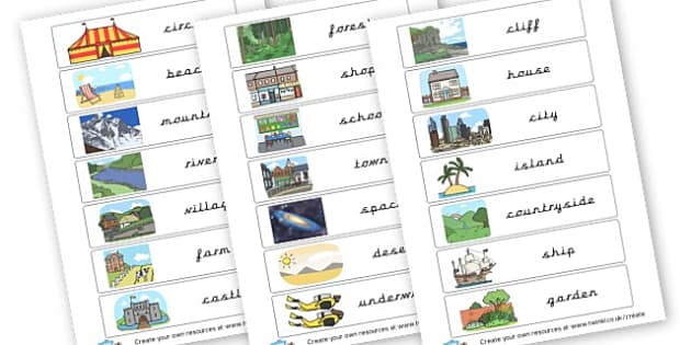 Settings flash cards - KS2 Settings, Story Writing, English, Literacy, KS2 English