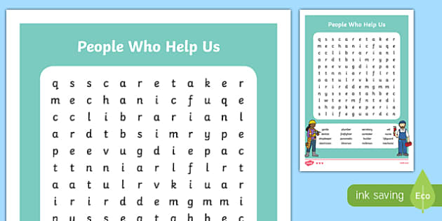 People Who Help Us Word Search-Irish