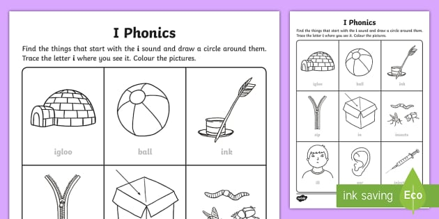 i Phonics Activity Sheet