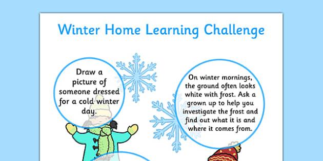 EYFS Winter Home Learning Challenge Sheet Nursery FS1 - eyfs, winter, home learning, challenge, sheet, nursery