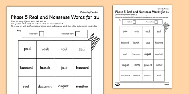 Phase 5 'au' Colour by Phoneme Nonsense and Real Words - phase 5