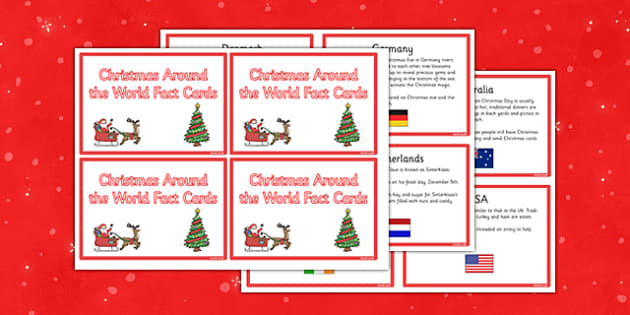 Christmas Around the World Fact Cards - christmas, around the world, fact cards, fact, cards