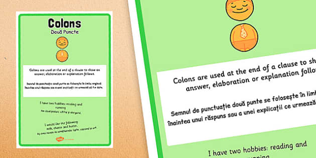 Colon Punctuation Poster Romanian Translation - romanian, colon, punctuation, poster, display