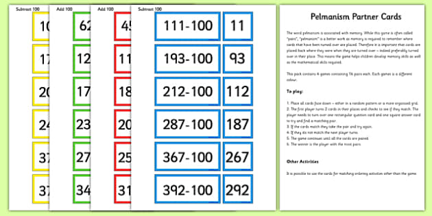 Add and Subtract 100 Partner Cards Game Pack - add, subtract, partner, cards, game, pack