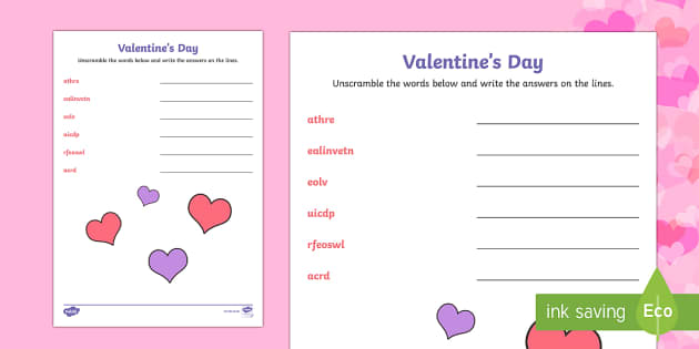 Valentine's Day Word Unscramble - Valentine's Day,  Feb 14th, love, cupid, hearts, valentines, word scramble