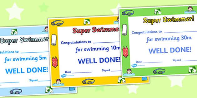 Swimming Certificates - swimming certificates, swimming awards, swimming reward certificates, simming lengths certificates, super swimmer certificates