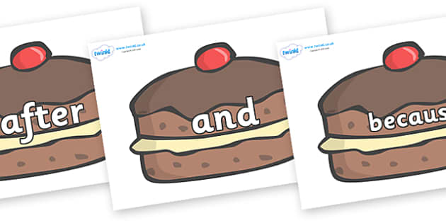 Connectives on Chocolate Buns - Connectives, VCOP, connective resources, connectives display words, connective displays