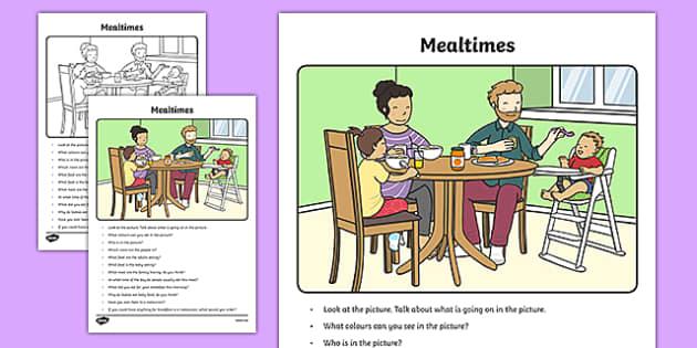 Mealtimes Oral Language Activity Sheet-Irish, worksheet