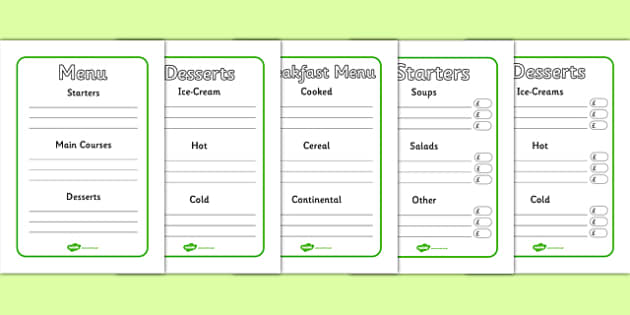 Menu Writing Frames - menu writing, frames, menu, starters, main courses, dessert, drinks, drinks menu, independent writing, creative writing