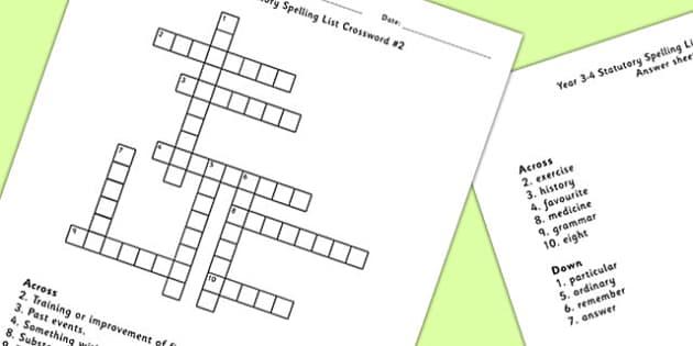 Year 3-4 Statutory Spelling List Crossword 2 - crossword, spell