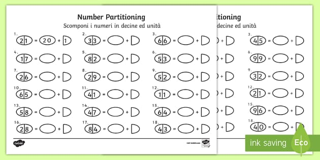 Tens and Ones Number Partitioning Activity Sheet English/Italian