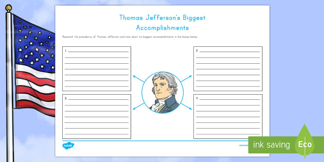 Thomas Jefferson's Biggest Accomplishments Writing Activity Sheet - American Presidents, American History, Social Studies, Thomas Jefferson, accomplishments,
