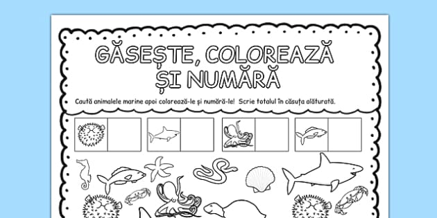 Animale marine, Gaseste, coloreaza si numara, Fisa matematica  , worksheet