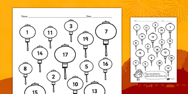 Chinese New Year Even And Odd Numbers Colouring Activity - colour