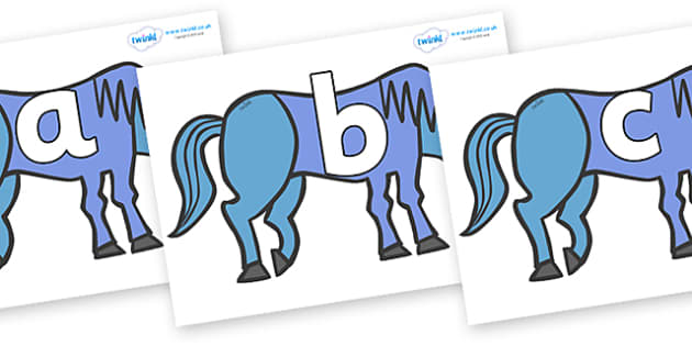 Phoneme Set on Blue Horse to Support Teaching on Brown Bear, Brown Bear - Phoneme set, phonemes, phoneme, Letters and Sounds, DfES, display, Phase 1, Phase 2, Phase 3, Phase 5, Foundation, Literacy