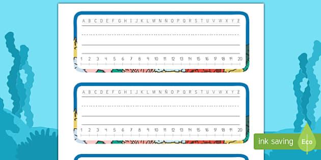 Etiquetas de mesa: Bajo el mar - Bajo el mar, proyecto, pauta, recta, numérica, alfabética, silla, identificación, Spanish