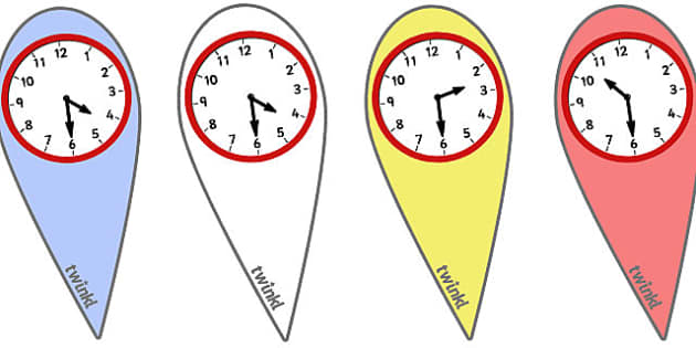 Analogue Time Fans (Half Past) - Time fan, fan, Time resource, Time vocaulary, clock face, Oclock, half past, quarter past, quarter to, shapes spaces measures
