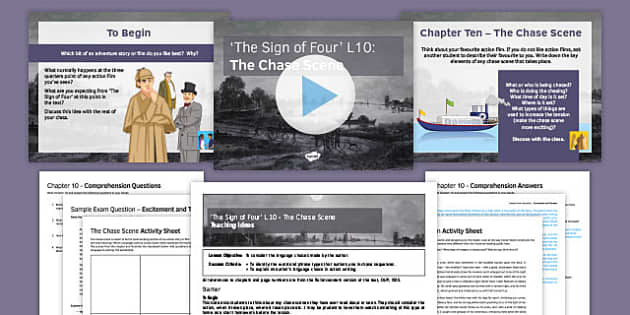 The Sign of Four Lesson Pack 10: The Chase Scene - Sign of Four, Sherlock Holmes, Reading, Heritage Prose, AQA, Exam, GCSE, Duality, Chapter 10, GCSE