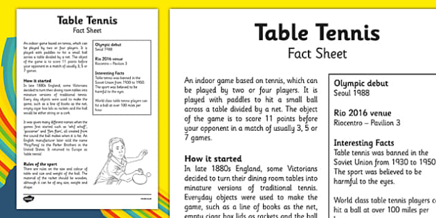 The Olympics Table Tennis Fact Sheet - the olympics, rio olympics, 2016 olympics, rio 2016, table tennis, fact sheet