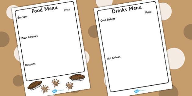 Mud Cafe Menu Writing Frame Template - mud, caf