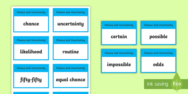 CfE First Level Numeracy and Mathematics Chance and Uncertainty Keyword Flashcards - Wall Display, keywords, MNU 1-20a, MNU 1-20b, MTH 1-21a, language of maths, vocabulary, word wall,Sc