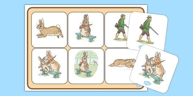 Beatrix Potter - The Story of a Fierce Bad Rabbit Matching Mat - beatrix potter, fierce, bad, rabbit